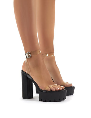 Deja Vu Black and Perspex Cleated Platform Block Heels