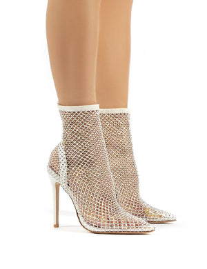 Diamond White Diamante Fishnet Stiletto High Heels