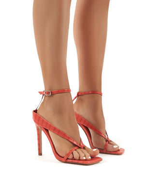 Emilia Red Croc Strappy Stiletto High Heels