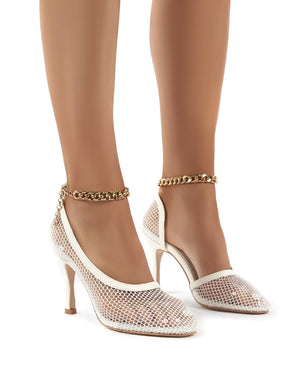 Odyssey White Chain Detail Fishnet High Heels