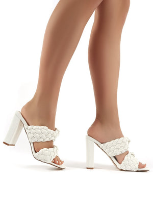 Raye White Woven Twist Strap PU Block Heeled Mules