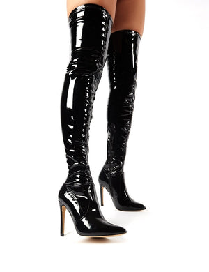 Ruthless Over the Knee Boots in Black Patent