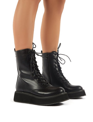 Haven Black Lace Up Chunky Ankle Boots