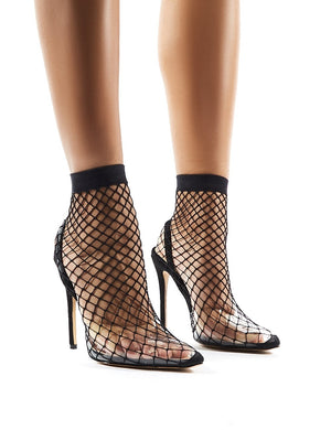 Wink Perspex Fishnet Heels in Black