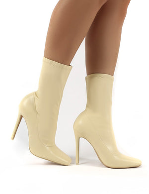 Everything Butter Square Toe Sock Fit Stiletto Heeled Ankle Boot