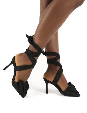 Girly Black Square Toe Bow Detail Lace Up Heels