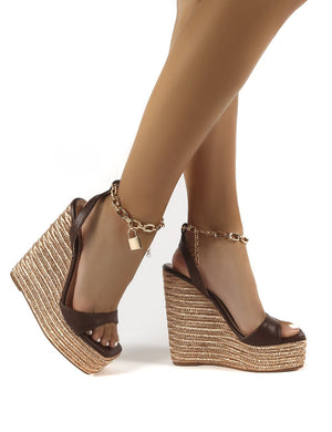 Idolize Choc Padlock and Chain Detail Wedged Heels