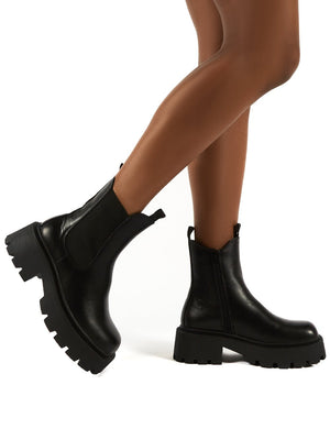 Innovator Black Chunky Sole Ankle Boots