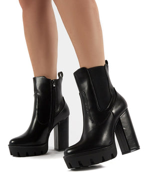 Iva Black PU Platform High Heel Ankle Boots