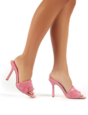 Leila Pink Woven Square Toe Heeled Mules