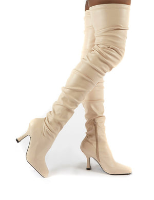 Outlaw Bone Ruched Over The Knee Heeled Boots