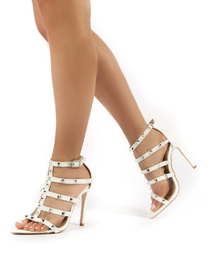 Sara White Studded Stiletto High Heeled Sandal