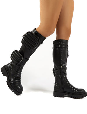 Tayla Black Wide Fit Knee High Pouch Boots