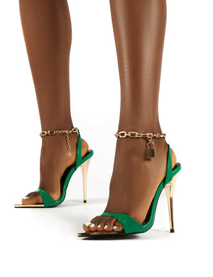 Triumph Green Lock Chain Detail Anklet Strap Stiletto Heels