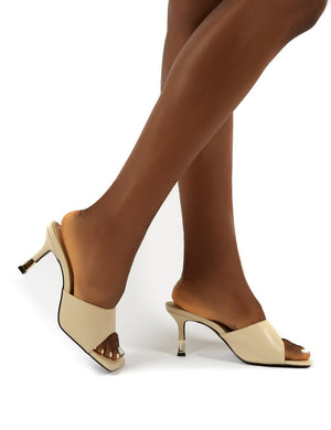 Vogue Nude Gold Heel Detail Square Toe Mules Sandals