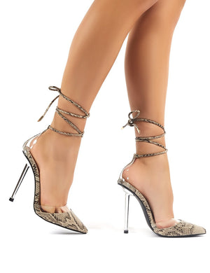 Envee Snake Lace Up Perspex Silver Stiletto High Heels