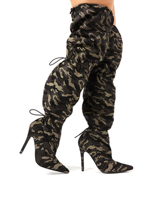 Harem Camo Stiletto Heeled Over the Knee Boots