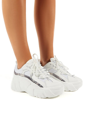 Hummer White Chunky Sole Trainers