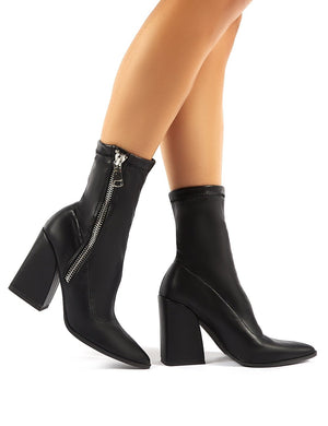 Jamie Black PU Sock Fit Block Heeled Ankle Boots