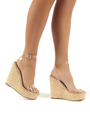 Jourdan Clear Perspex Strap Wedge Raffia Heeled Sandals
