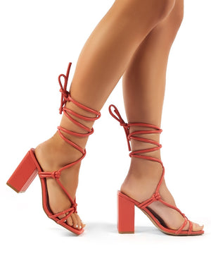 Lois Wide Fit Coral Strappy Lace Up Block High Heels
