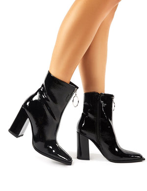 Payback Black Crinkle Patent Zip Up Block Heeled Ankle Boots