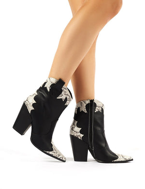 Sting Black Western Block Heeled Ankle Boots
