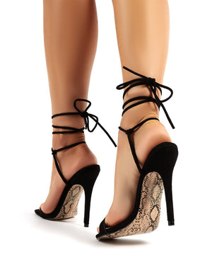 Chic Black Lace Up Snakeskin Sole Stiletto Heels
