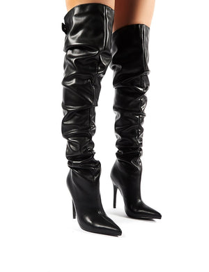 Impulse Black PU Slouch Stiletto Heeled Over the Knee Boots
