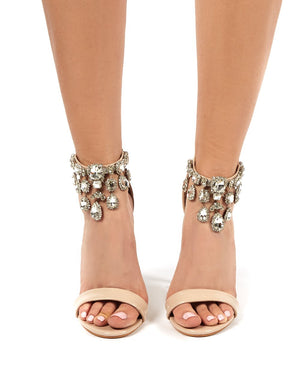 Chai Nude Embellished Strappy Heel