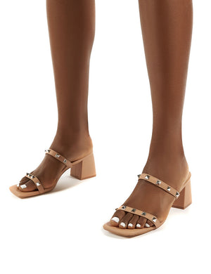 Forever Nude Square Toe Studded Strap PU Block Heel Mule Sandals