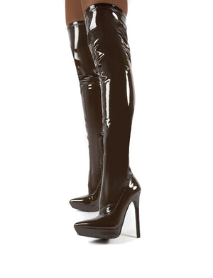 Forward Chocolate Patent Stiletto Heeled Over the Knee Boots