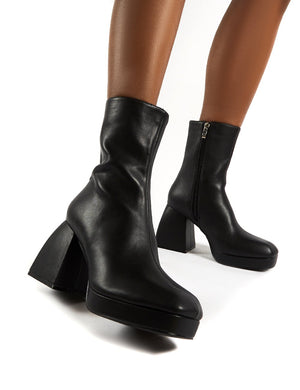 Imagine Black Chunky Heel Ankle Boots