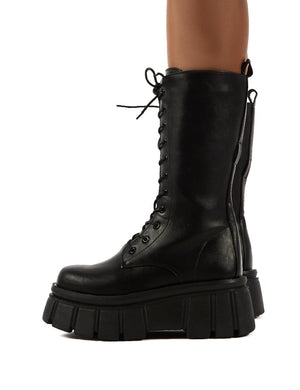 Jena Black Calf High Lace Up Chunky Sole Boots