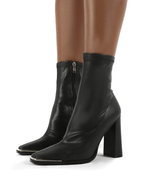 Liberty Black Sock High Heeled Ankle Boots