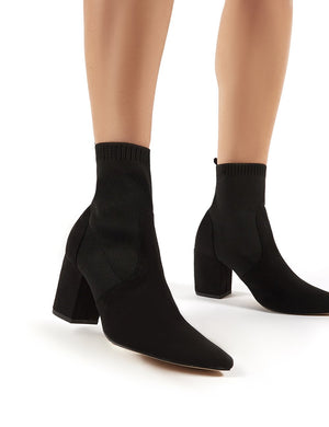 Nuala Black Suede Block Heeled Knitted Sock Fit Ankle Boots
