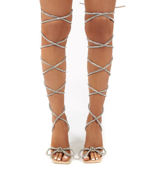 Queenie Nude Lace up Diamante Bow Square Toe Heels