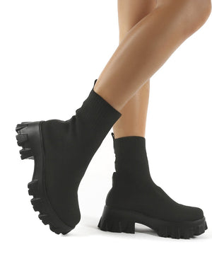 Trust Black Chunky Platform Sole Sock Ankle Boots
