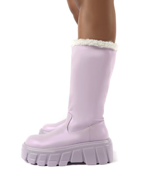 Wynter Lilac Shearling Lined Knee High Ankle Boots