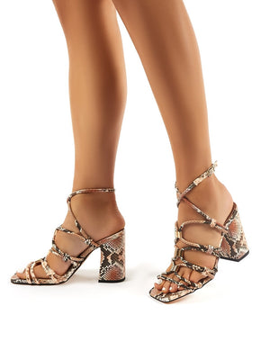 Arabella Snakeskin Print Strappy Block High Heels