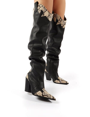 Brandy Black Western Block Heeled Knee High Boots