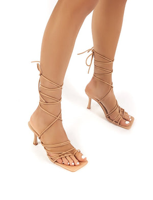 Cabo Nude Strappy Lace Up Square Toe Kitten Heels