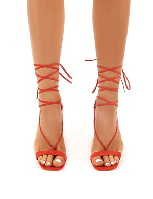 Frankie Red Suede Lace Up Block High Heels