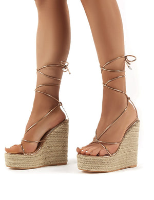 Luciana Rose Gold Lace Up Espadrille Wedge Heeled Sandals