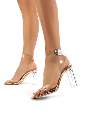 Talk Rose Gold Patent Perspex High Heels