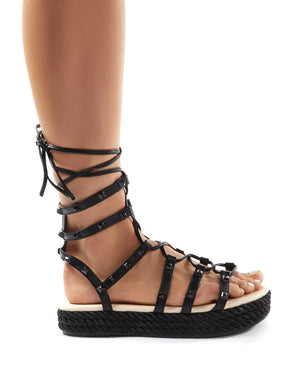 Thea Black Lace Up Studded Gladiator Sandals
