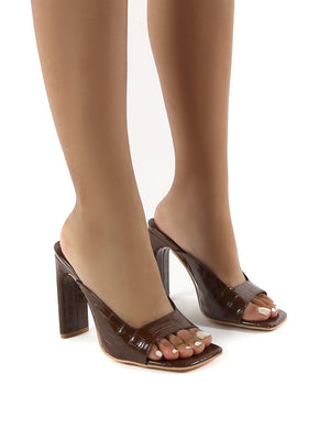 Abelle Chocolate Wide Fit Square Toe High Heeled Mules