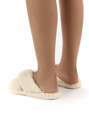Cozee Cream Fluffy Teddy Cross Over Strap Slippers