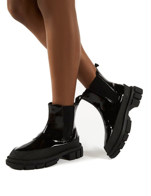 Fae Black Patent Ankle Boots