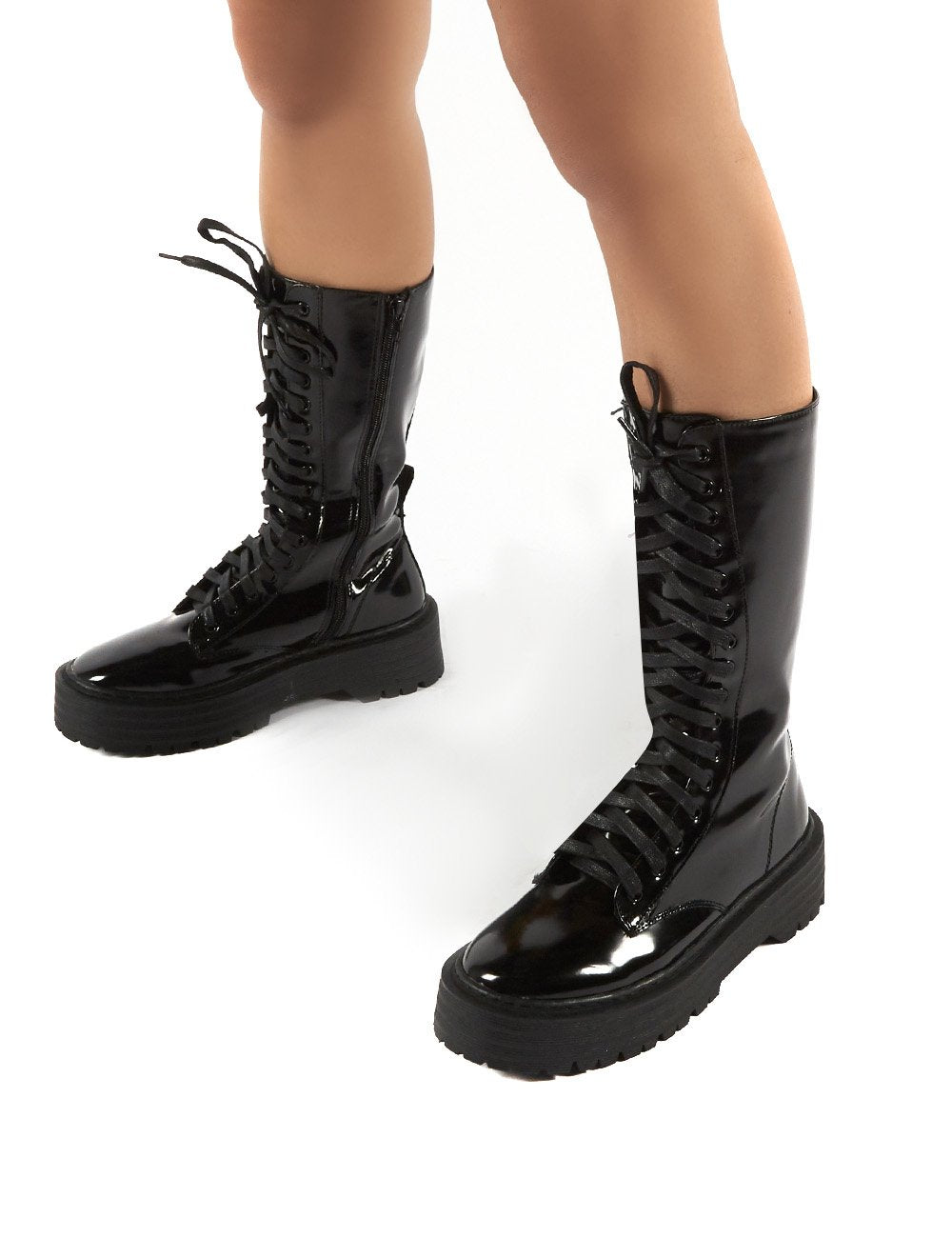 Kendall Smooth Black PU Lace Up Chunky Knee High Boots